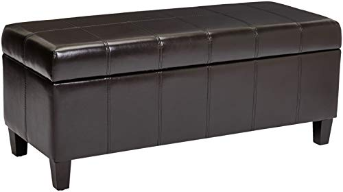 First Hill Damara Lift-Top Storage Ottoman Bench with Faux-Leather Upholstery, Mocha Brown ()