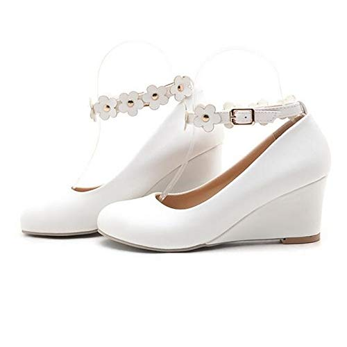 ZHZNVX Zapatos de Mujer PU (Poliuretano) Spring Comfort Heels Wedge Heel Blanco/Negro White
