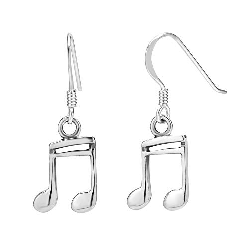 925 Sterling Silver 16th Note Musician Dangle Hook Earrings