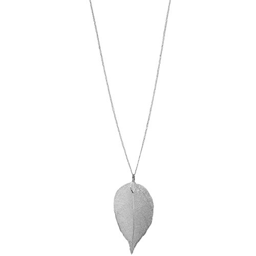 Humble Chic Filigree Leaf Necklace - Statement Dipped Pendant Long Chain Link, Silver-Tone (Silver Necklace Large)