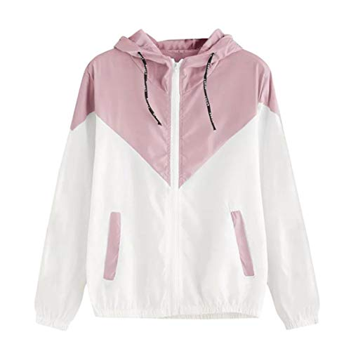 BCDshop Women Sport Skinsuits Hooded Zipper Pockets Coat Patchwork Thin Short Jacket (Pink, M)
