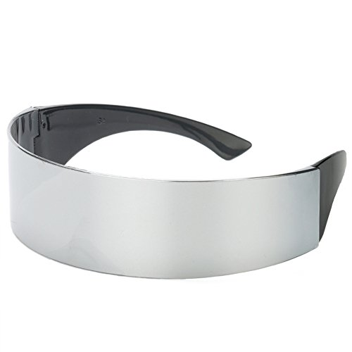 Wrapped Around Futuristic Cyclops Mirror Sunglasses - Party Favors, Novelty Shades, Party Toys, Funny Costume Accessories for Kids & Adults (Silver)