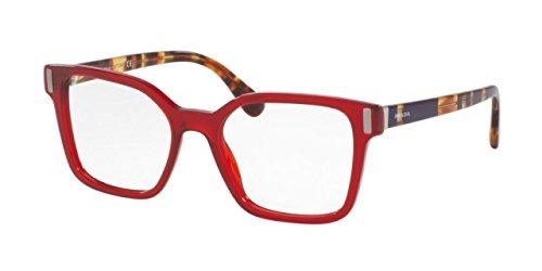 Prada PR05TVF Eyeglass Frames ACB1O1-52 - Transparent / - Red Glasses Prada