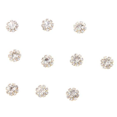 10pcs Gold 10mm Rhinestone Crystal Snowflake Embellishment Flatback Button TranShop TM