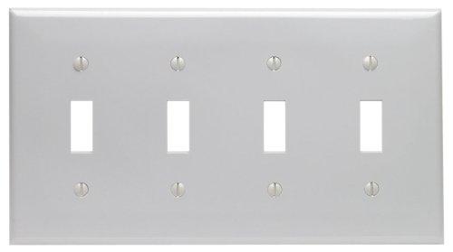 Leviton 80712-GY 4-Gang Toggle Device Switch Wallplate, Standard Size, Thermoplastic Nylon, (Leviton Four)