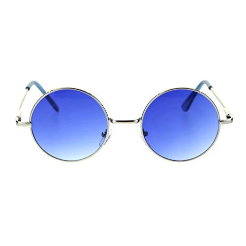Rim Wire - SA106 Color Groovy Hippie Wire Rim Round Circle Lens Sunglasses Gradient Blue