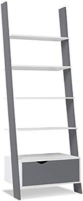 IDMarket – Estantería escalera escandinava de madera blanca y gris ...