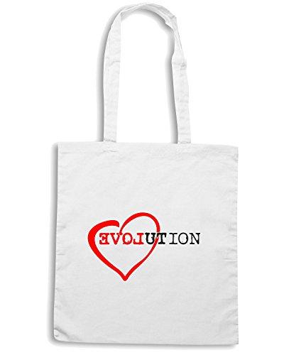 T-Shirtshock - Bolsa para la compra T0518 evolution love Blanco
