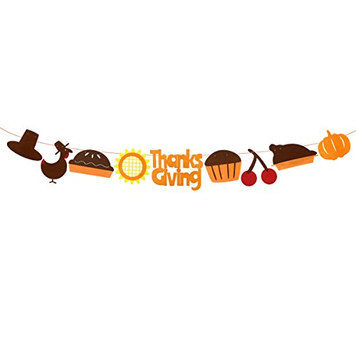 JANOU Thanks Giving Banner Pumpkin Turkey Fall Bunting Hanging Garland for Thanksgiving Day Party Decoration