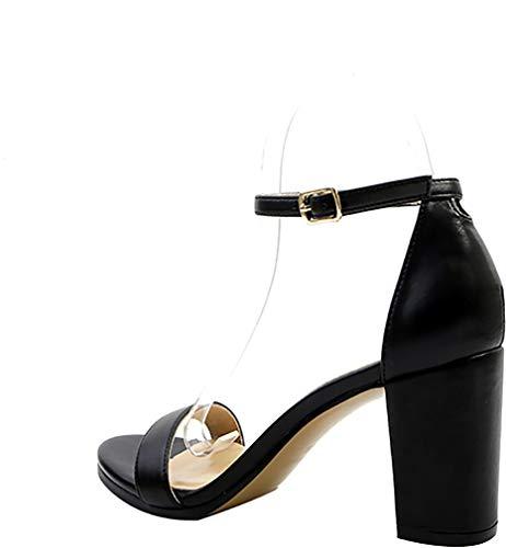 Shoes Black Heel Calaier 8CM Sandals Toe Block B Calxdi Women Buckle Peep vvzw4Tq