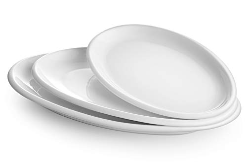DOWAN Large Serving Platters, 16″/14″/12″ Oval Serving Platters, Oven Safe, White Serving Plates, Porcelain Dinner Platters for Appetizers Meat Snacks, Serving Dishes for Father's Day, Party, Set of 3