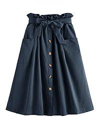 SweatyRocks Falda Mediana de algodón Plisado con Bolsillo para Mujer (pequeña, Azul Marino)