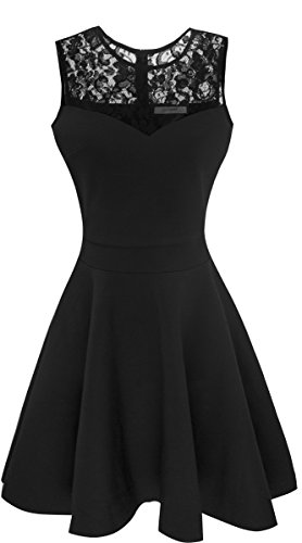Sylvestidoso Women's A-Line Sleeveless Pleated Little Black Cocktail Party Dress with Floral Lace (XXL, Black)