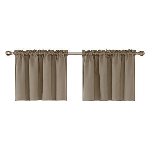 - Deconovo Rod Pocket Embossed Valances for Windows Decorative Blackout Window Valance for Kitchen 42x24 Inch Khaki One Pair