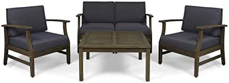 Great Deal Furniture Lorelei Outdoor 5 Piece Acacia Wood Chat Set