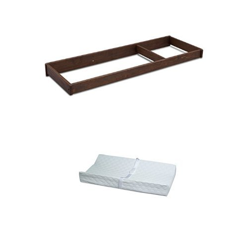 Serta Northbrook Changing Top, Rustic Oak and Simmons Kids Beautyrest Beginnings 2-Sided Vinyl Contour Pad - 2 Sided Oak Table