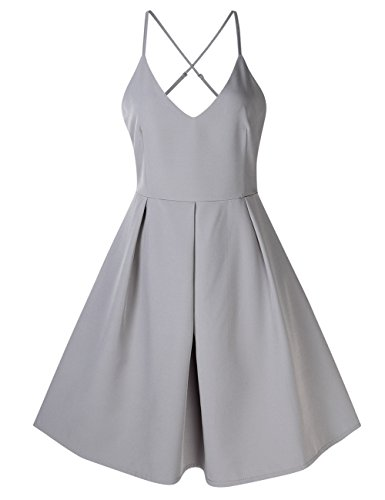 Gray Cocktail (GlorySunshine Women's Deep V Neck Adjustable Spaghetti Straps Dress Sleeveless Sexy Backless Cocktail Party Dresses (M, Gray))