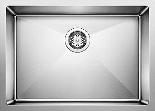 Blanco 519547 Quatrus R15 Under Mount Single Bowl Kitchen Sink, Medium, Stainless Steel