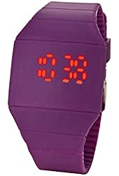 Moonar®Unisex Ultra Thin Cool Red LED Touch Screen Digital Display Rubber Wrist Watch(Purple)