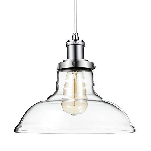 Pendant Light, Morden Fort Single Opening Glass Pendant Light Polished Nickel Light for Living Room/Bed Room/Dining Room