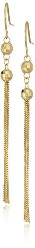 14k Yellow Gold Double Beaded Tassle Drop Earrings