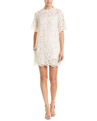 Valentino Womens Lace Silk-Lined Shift Dress, 38, White