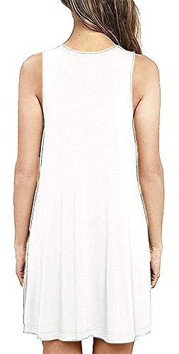 Bishuige Femmes Robes Été Chemise T Occasionnels Plage Couvrir Blanc Robe Plissée Réservoir Plaine