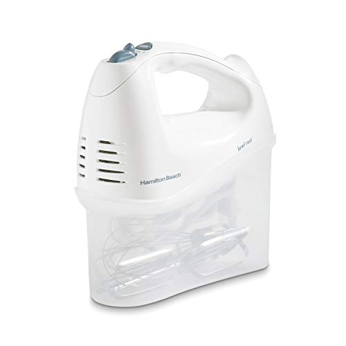 Hamilton Beach 6-Speed Electric Hand Mixer with Snap-On Storage Case, Wire Beaters, Whisk and Bowl Rest, 250W, White (62682RZ)