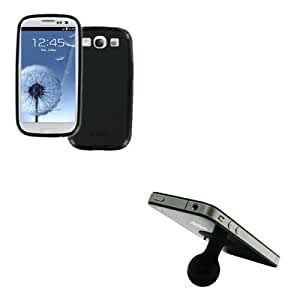 EMPIRE Samsung Galaxy S III / S3 Poly Skin Case Cover (Black Matte) + Silicone Suction Cup Stand [EMPIRE Packaging]