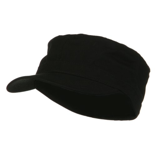 Big Size Cotton Fitted Military Cap - Black (for Big Head) (8 1/4) -