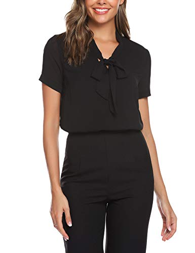 URRU Women's Office Shirts Bow Tie V Neck Short Sleeve Layered Chiffon Blouse Black - Chiffon Bow Black