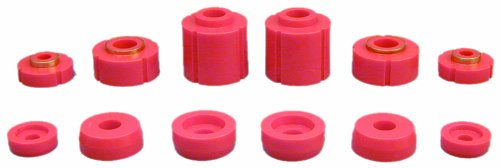 Prothane 6-108 Red Body and Cab Mount Bushing Kit - 12 Piece (Body Replacement Bushing Urethane)