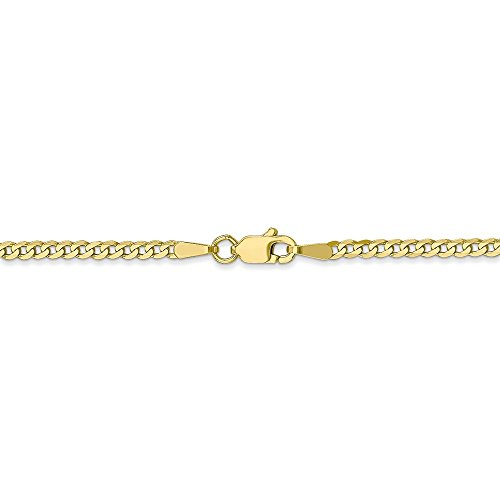 2.2 mm 10k Yellow Gold Flat Beveled Curb Chain Ankle Bracelet - 10 Inch by Jewelry Stores Network