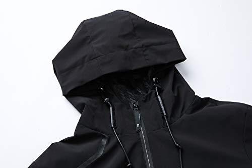 8af5a68fdd8 UDAREIT Womens Windbreaker Jacket Waterproof Rain Jacket Coat Hooded Active  Hiking Running Coats OXL Black