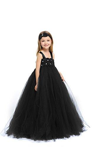 MALIBULICo Little Girls' Black Flower Girl Tutu Dress for Wedding and Birthday Photoshoot -
