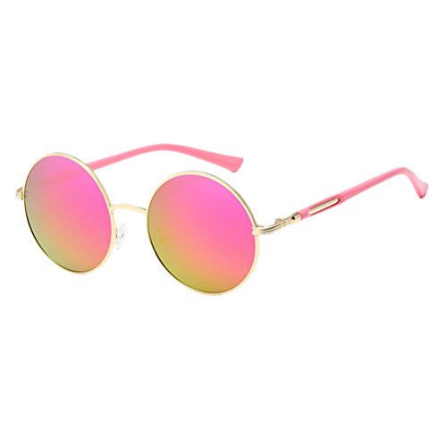 estuche Oversized Gold Round Design Frames Mirror gafas Zhuhaitf for Womens Fashionable amp;pink de Sunglasses Unisex Polarized Con Mens WSvqU4q