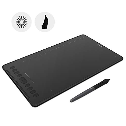 HUION H1161 Drawing Tablet Battery-Free Graphics Tablet 11x6.875inch 8192 Levels Pressure Sensitivity Tilt Support 10 Press Keys 16 Soft Keys Touch Strip, Glove Included