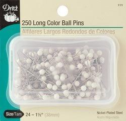 Dritz Bulk Buy Long Color Ball Pins Size 24 White 250/Pkg 111 (3 Pack) by Dritz