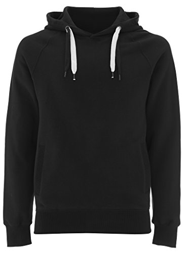 Black Pullover Hoodie for Women - Large- Womens Hooded Organic Cotton Sweatshirt