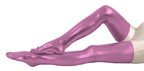 Marvoll Shiny Metallic Thigh High Skintight Zentai Stockings (70cm, Pink)