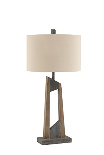 Washed Wood Table Lamp (Catalina Lighting  20630-000 Donovan Wood Table Lamp with Off-White Drum Shade)