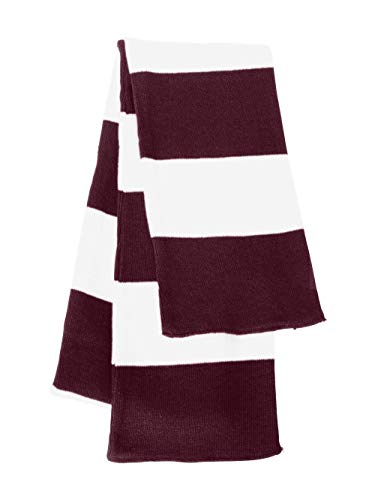 Sportsman - Rugby Striped Knit Scarf - SP02 - One Size - Maroon/ White (Classic Striped Scarf)