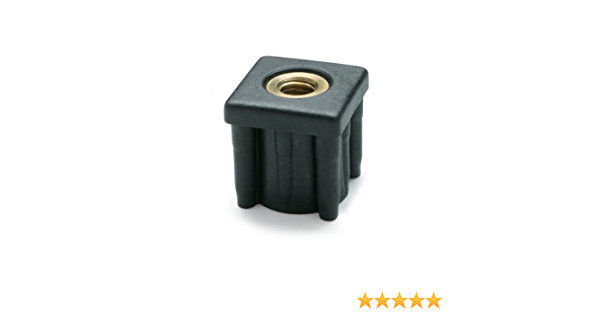 1//2-13 Thread Size JW Winco 448V2V1788T Series EN 448S Plastic Black Square Type Threaded Tube End with Molded-in Insert 2.01 Item Length 1124 Pounds Static Load 1.78 Inside Square