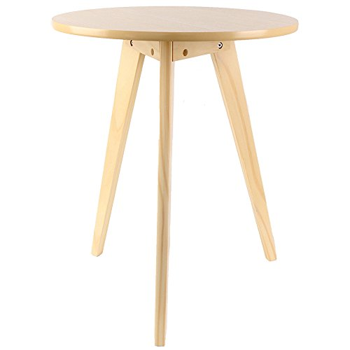 Three Legged Solid Wood End Table, Modern Round Coffee Table