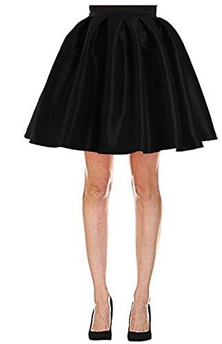 724d306f9735 Omelas Women Short Pleated Flare Skater Full Skirt Satin Prom Party Skirts  Dress Black