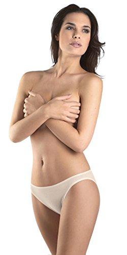 HANRO Women's Cotton Seamless Hi Cut Panty Brief Panty, Pale Cream, x-Small
