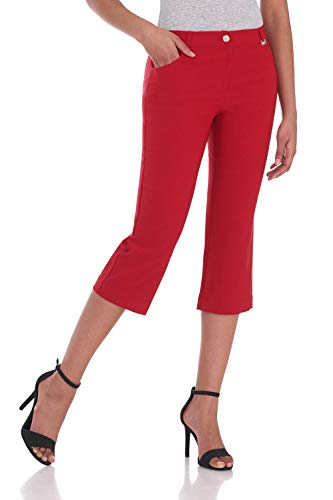 Rekucci Women's Iconic Comfort Stretch 5 Pocket Easy Fit Capri w/Zipper Closure (6,Red) - Form Fitted Capris