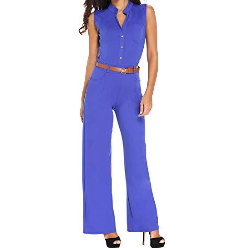 Tute Sleeveless L Solid Larga Gamba white Cintura Romper color Maniche Con Senza Blue Size Black Deep Button Scollo A Sexy Wowulgar Women's Color V dnqxWIB7d