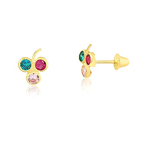 Carol Jewelry 18k Hypoallergenic Yellow Gold Multi Color Grape Synthetic Cubic Zirconia Safety Stopper Stud Earrings for Girls, Babies, Children and Toddlers