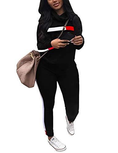 Angsuttc Women's Striped Patchwork 2 Piece Outfits Cowl Neck Long Sleeve Sweatshirt and Pants Set Tracksuit Black Small